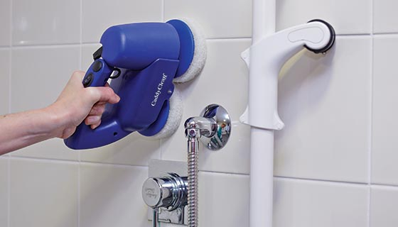 the caddy clean hand attachment adds versatility to cleaning walls, nooks and crevices