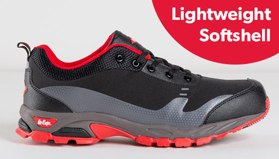 Lee Cooper Softshell Shoe with a a composite toe and rubber outer shell.