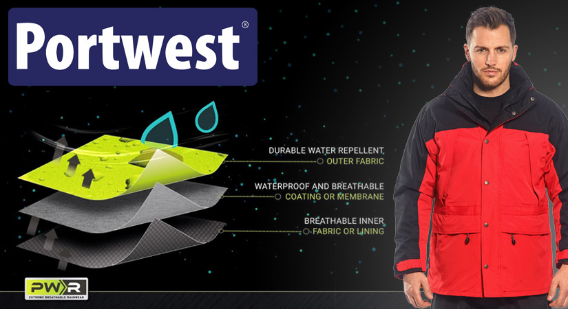 Portwest PWR material is also waterproof and breathable.