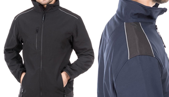 Sandstorm Ripstop Softshell Jacket which is Weather resistant, Zipped chest pocket and has Reflective Trim