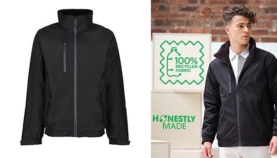 TRA213 Bomber Jacket from Regatta's Honestly Made range. Quick drying, waterproof and breathable. With full front zip.