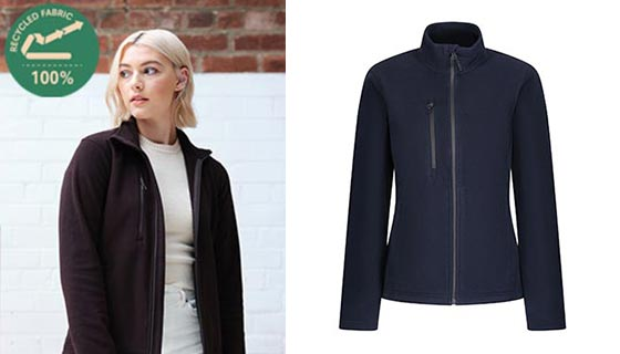 Regatta Honestly Made Women's fleece jacket with zip centre, side pockets and is both water repellant and wind resistant.