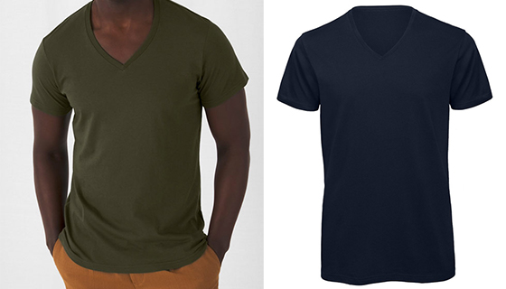 Mens V Neck Organic T Shirt from B&C TM044