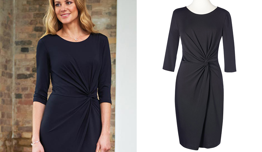 Brook Taverner Neptune Dress in an elastane fit, ruched detailing front.