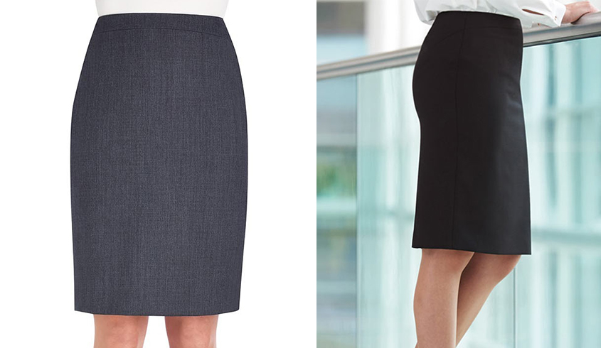 Brook Taverner Wyndham Skirt in a straight fit and with a centre vent and stretch lining.