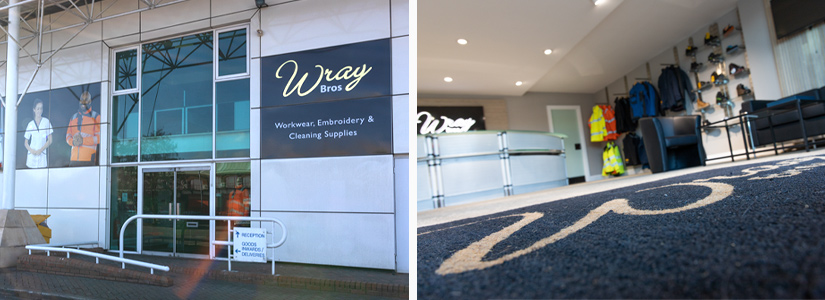 Wray Bros showroom in Liverpool supplies cleaning supplies, ppe, personalised clothing and embroidered staff workwear to businesses on Merseyside