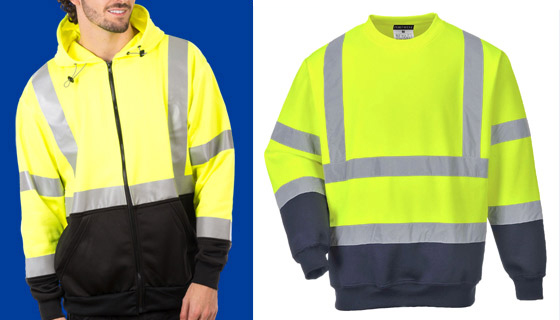 high vis sweatshirts from wray bros, liverpool