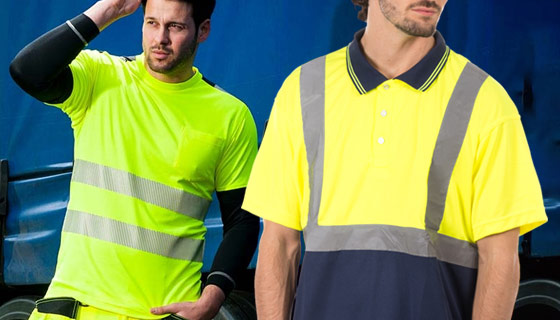 high vis polo shirts in yellow and orange
