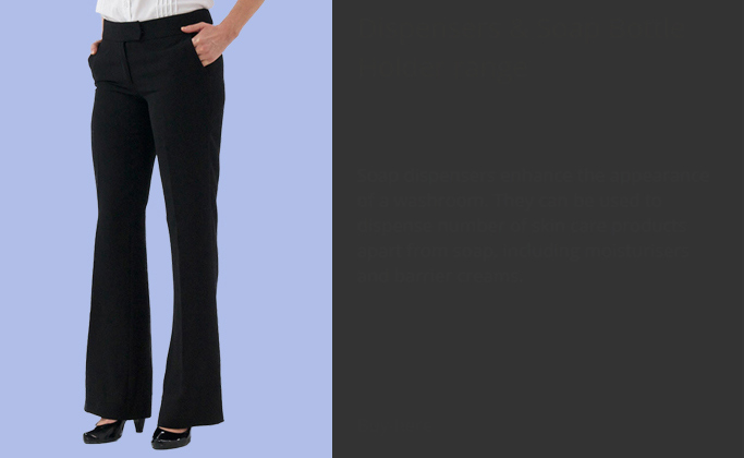Ladies work trousers include action trousers and salon pants