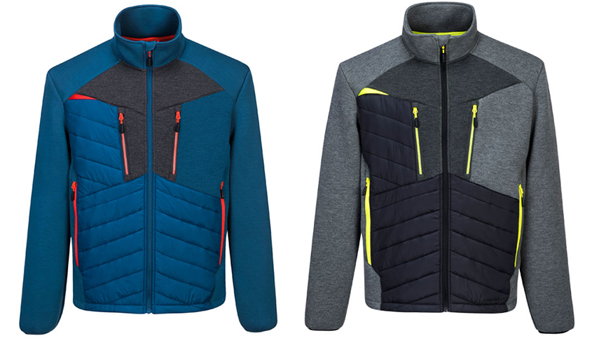 Portwest DX4 Baffle Jacket in Persian Blue or Metal Grey. With reflective piping and 6 pockets including 2 chest pockets.