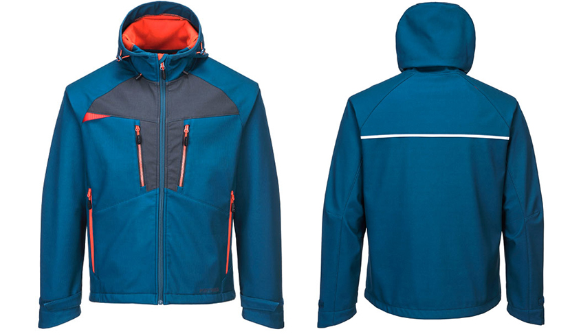 DX4 Softshell Jacket in 2 colours, persian blue or metal grey. With hood and central zip up and 6 pockets for storage.