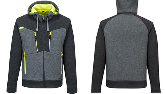 Moisture wicking hoodie with central, contrast coloured zip.
