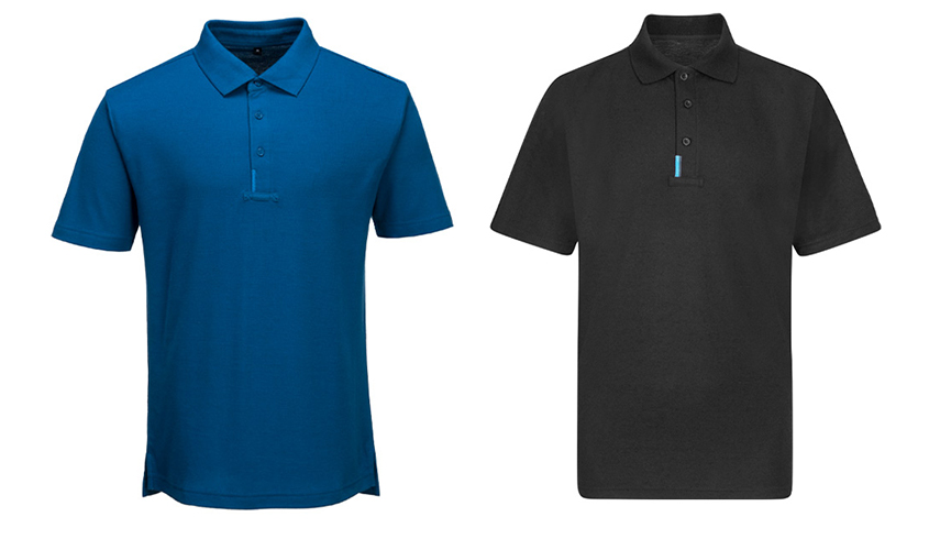Portwest WX3 Polo Shirt with loop at placket for attaching glasses and pens. 3 button placket and reflective shoulder trim.