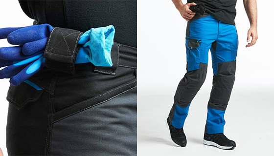 Durable work action trousers with knee pad pockets and a reinforce gusset to prevent tears. Contrast knee area..