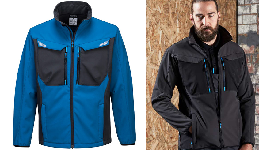 WX3 Softshell Jacket in 2 colour options: persian blue or metal grey. Full centre zip with chin guard, chest pockets and reflective trim.