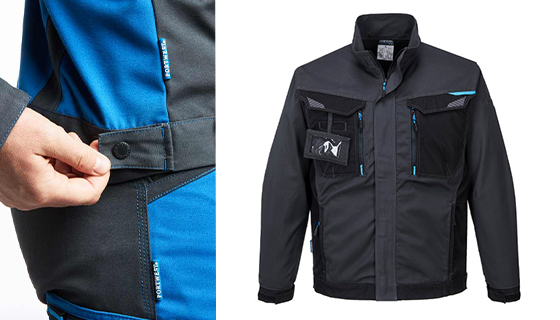 Multi functional and practical work jacket with 10 pockets, available in blue or grey.