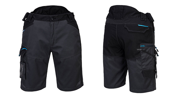 Practical workwear shorts with 7 pockets in Persian Blue or Metal Grey.