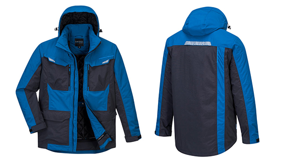 Portwest WX3 Blue T740 Winter Jacket with front pockets, waterproof and windproof.