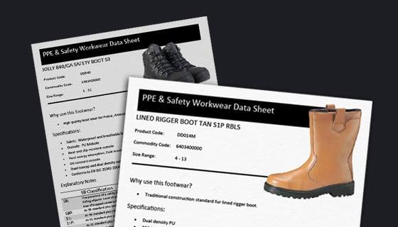 Data Sheets on safety footwear, work gloves & workwear