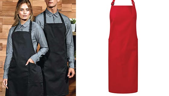 Premier PR120 recycled polyester bib apron with adjustable neck.