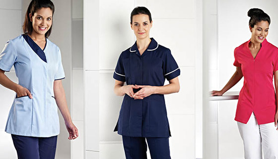Tunics for medical or veterinary sectors and the beauty industry