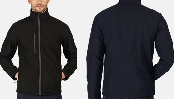 Regatta Honestly Made Softshell jacket with zip centre, side pockets and is both water repellant and wind resistant.