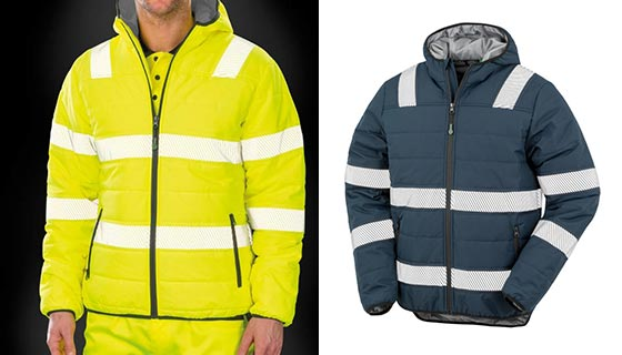 Result Genuine Recycled Safety Jacket R500X in a padded style, available in Orange, Yellow or Navy.
