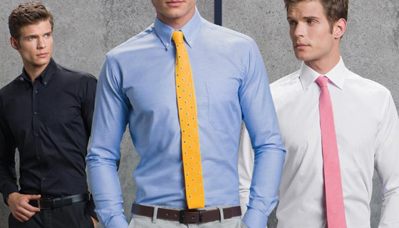 Information on slim fit, contrast and non-iron shirts.