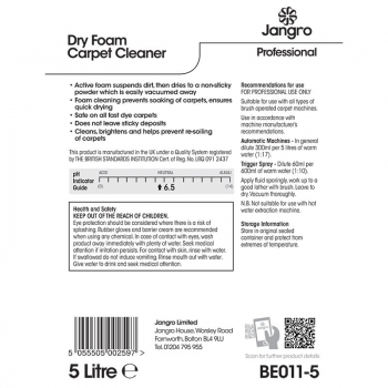 Dry Foam Carpet Cleaner Label