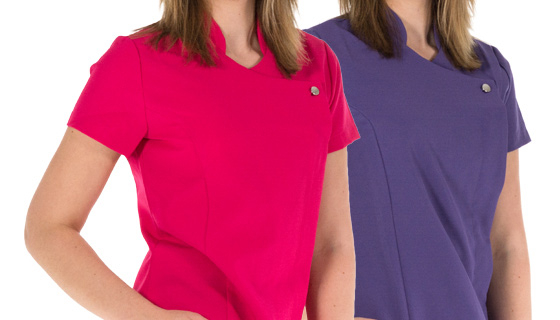 Premier beauty salon tunic with stylish feature buttons