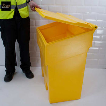 A durable bin for storage of grit