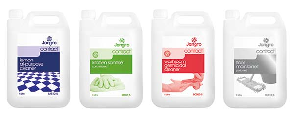 The Jangro Contract Range is a no frills', basic commercial range of cleaning chemicals that are perfect for day-to-day cleaning tasks