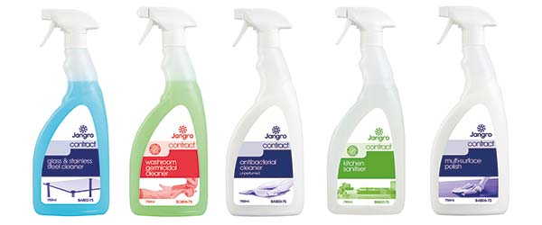 The Jangro Contract Range is manufactured to minimise cost of buying commercial cleaning chemicals