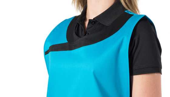 a Premier beauty salon tabard with pockets