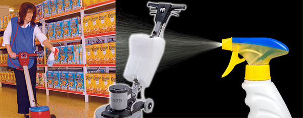 learn how to spray clean with a rotary machine to improve polished floor surfaces
