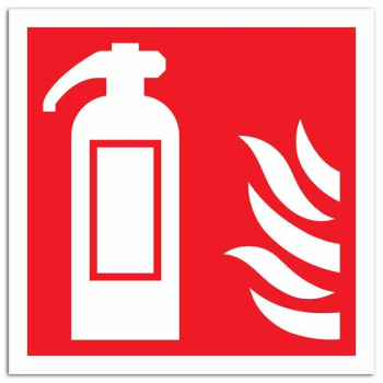 Fire Extinguisher with Flames Sign