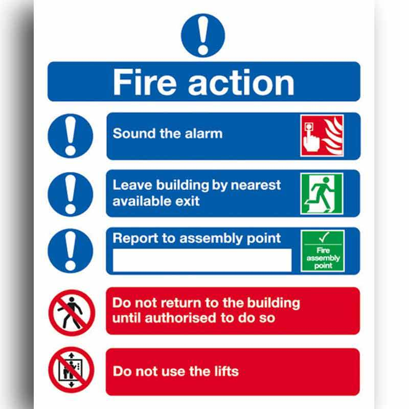 Symbolised Fire Action Sign