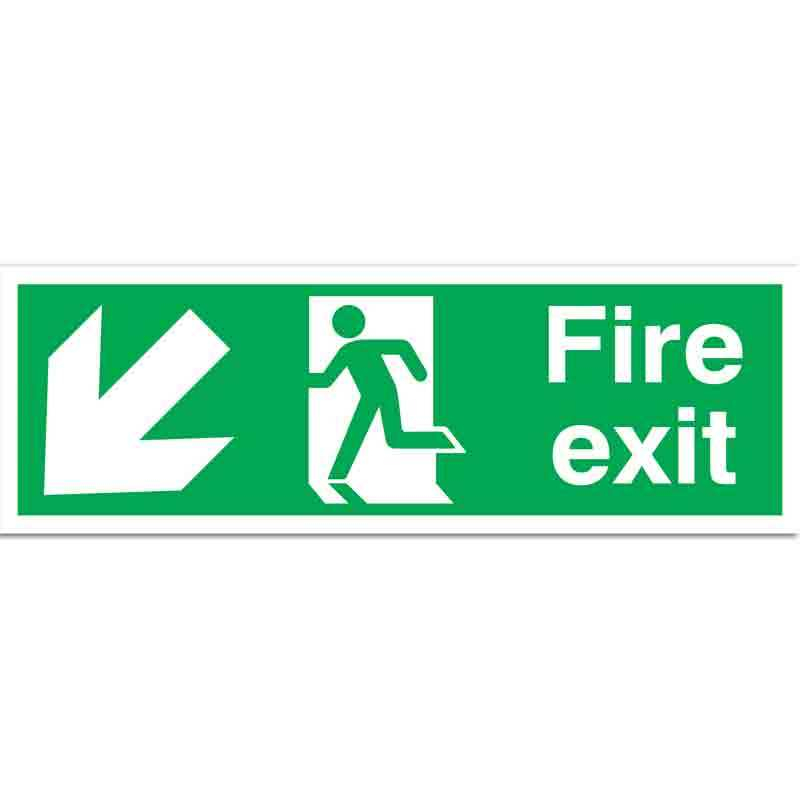 Fire Exit with running man and arrow down left Sign