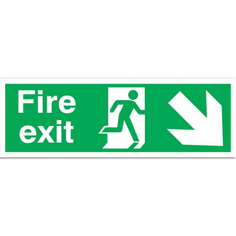 Fire Exit with running man and arrow down right Sign