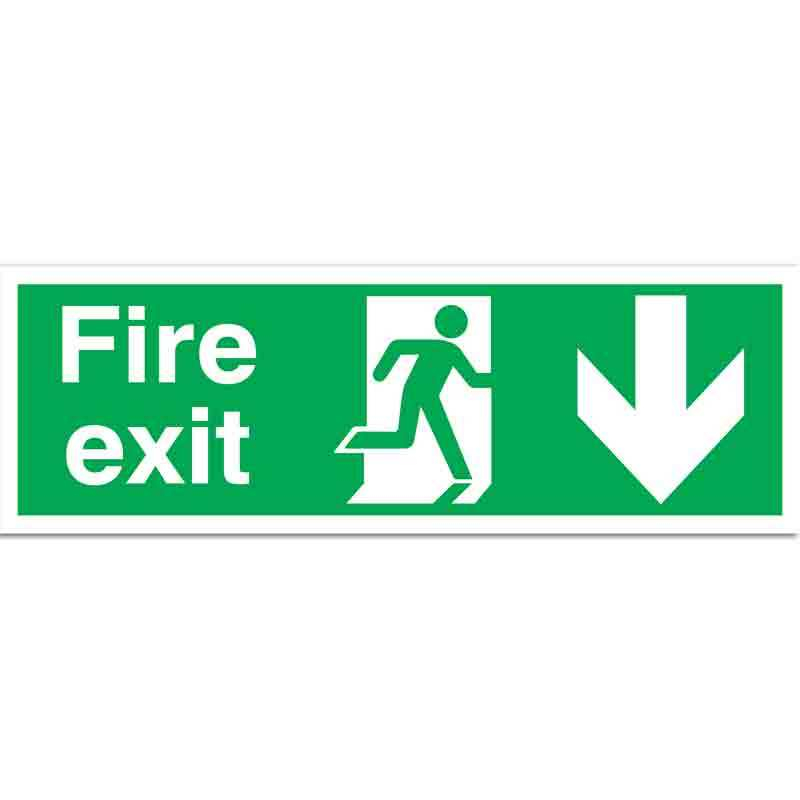 Fire Exit with running man and arrow down Sign
