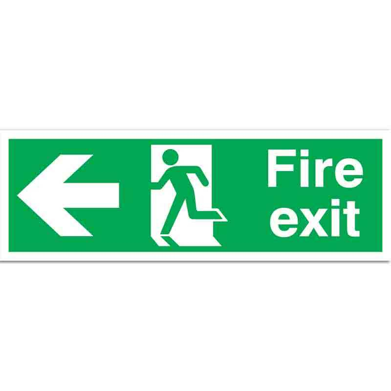 Fire exit with symbol and arrow left - Sign