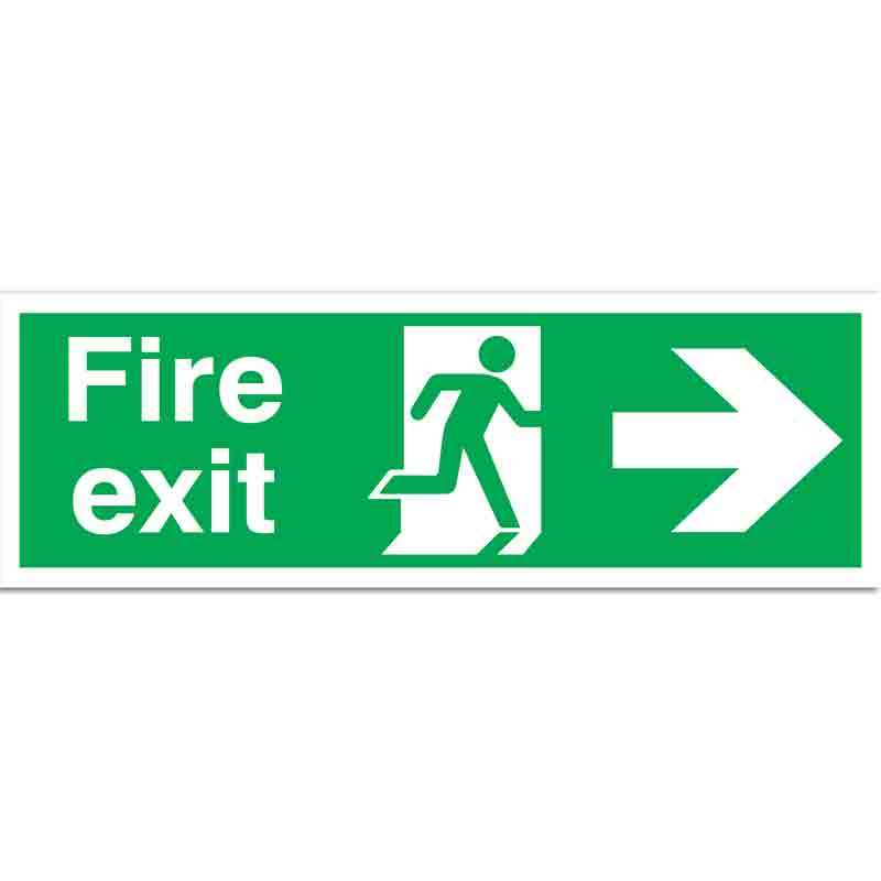 Fire exit with symbol and arrow right - Sign