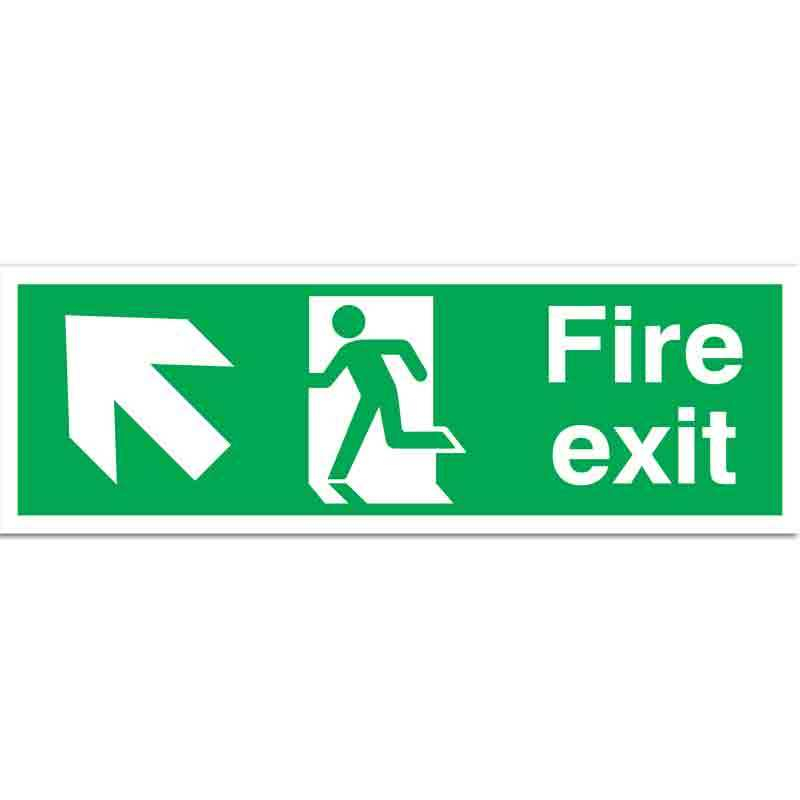 Fire Exit with running man and arrow up left Sign