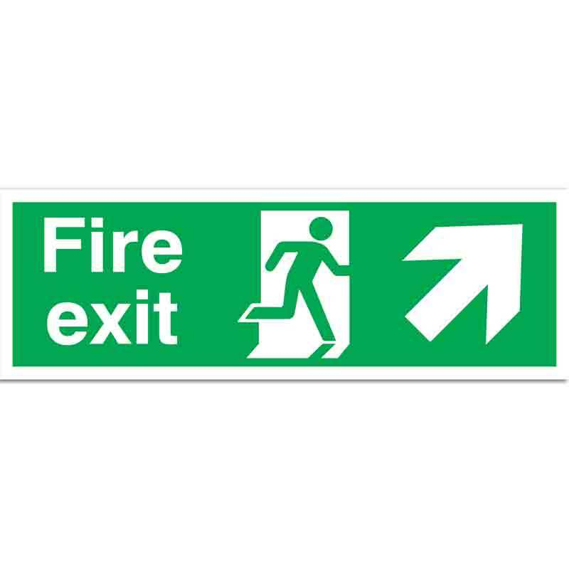 Fire Exit with running man and arrow up right Sign