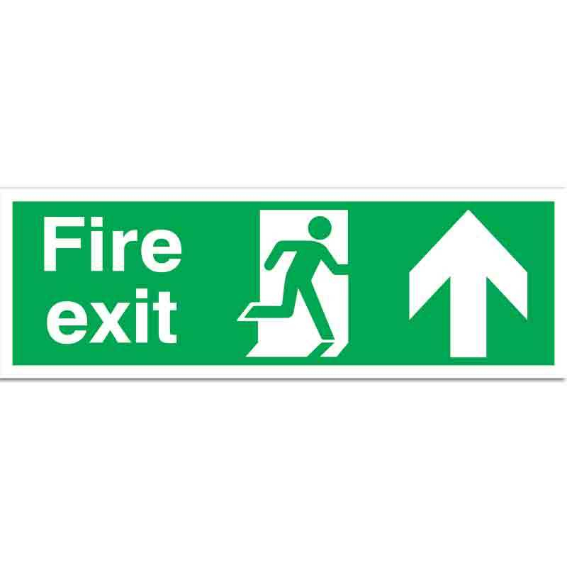 Fire Exit with running man and arrow up Sign