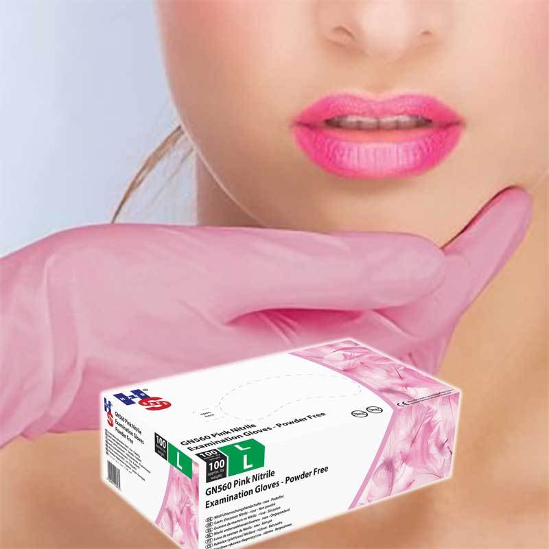 Pink Powder Free Nitrile Examination Gloves
