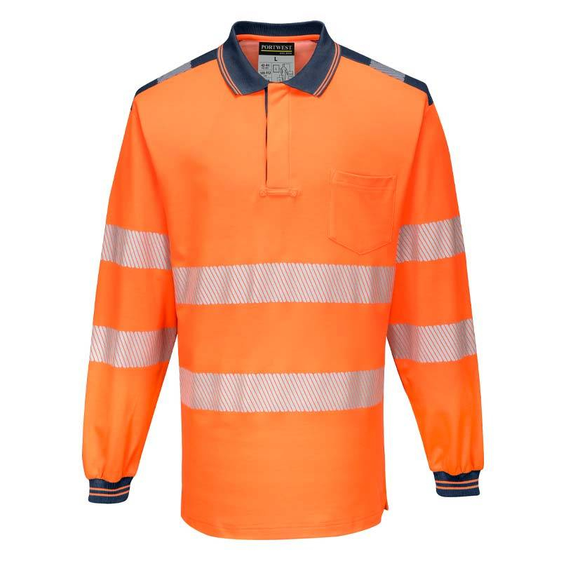 Portwest PW3 Hi-Vis Polo Shirt Long Sleeve T184