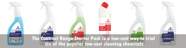 The Jangro Contract Range starter pack includes six popular cleaning chemicals at a great price