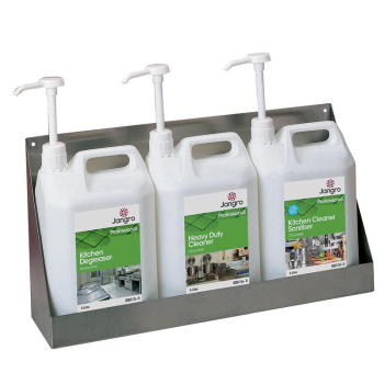 Stainless Steel 3 x 5ltr Chemical Wall Shelf