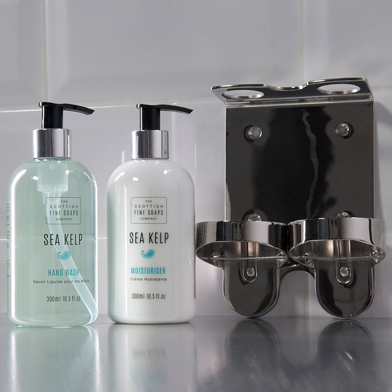 Chrome Double Soap Bottle Holder